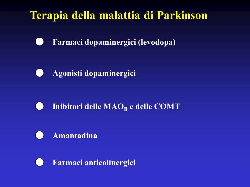 Terapia della malattia di Parkinson Farmaci dopaminergici (levodopa) Agonisti dopaminergici Amantadina Inibitori delle MAO B e delle COMT Farmaci anticolinergici