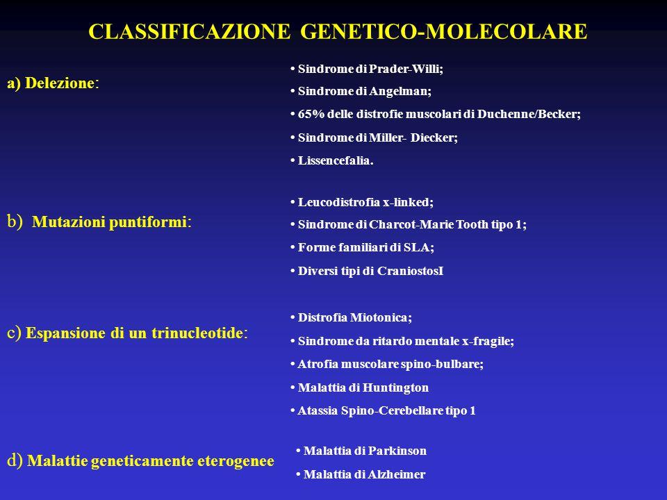 CLASSIFICAZIONE GENETICO-MOLECOLARE a) Delezione : Sindrome di Prader-Willi; Sindrome di Angelman; 65% delle distrofie muscolari di Duchenne/Becker; Sindrome di Miller- Diecker; Lissencefalia.