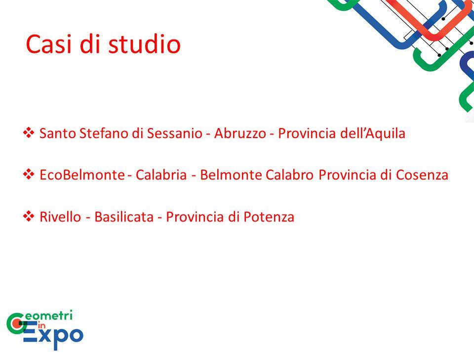 Casi di studio  Santo Stefano di Sessanio - Abruzzo - Provincia dell'Aquila  EcoBelmonte - Calabria - Belmonte Calabro Provincia di Cosenza  Rivell