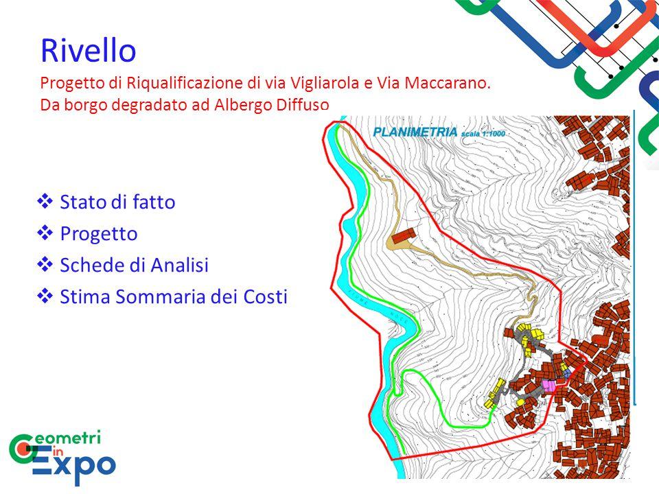 Rivello Progetto di Riqualificazione di via Vigliarola e Via Maccarano. Da borgo degradato ad Albergo Diffuso  Stato di fatto  Progetto  Schede di