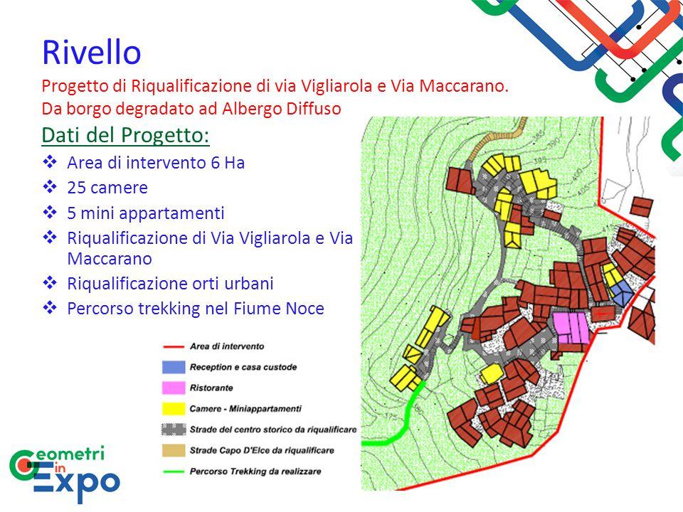Dati del Progetto:  Area di intervento 6 Ha  25 camere  5 mini appartamenti  Riqualificazione di Via Vigliarola e Via Maccarano  Riqualificazione