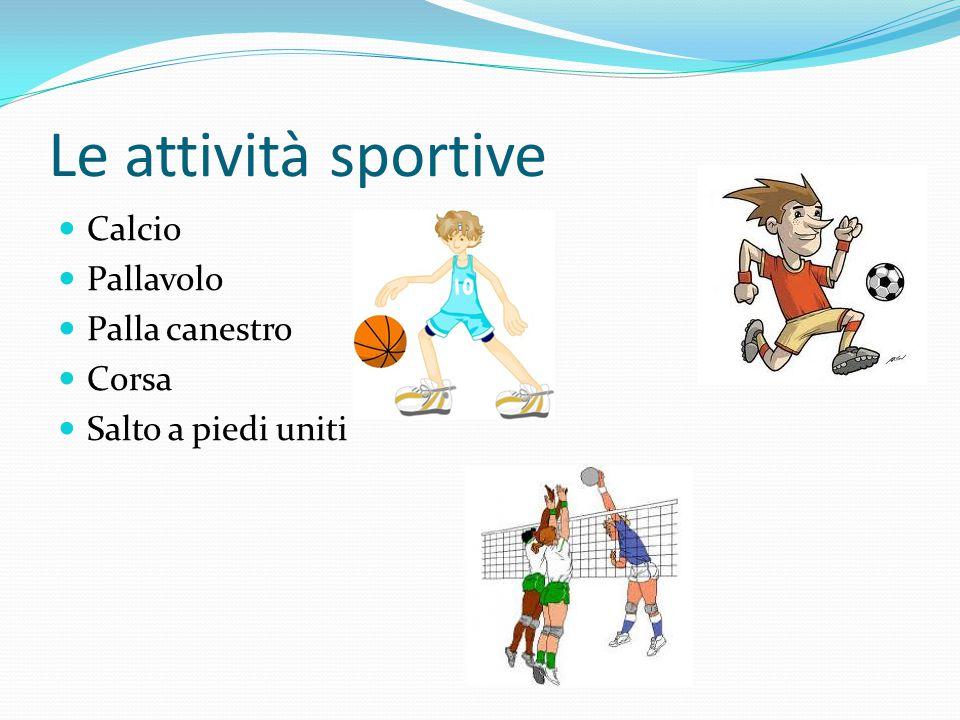 Le attività sportive Calcio Pallavolo Palla canestro Corsa Salto a piedi uniti