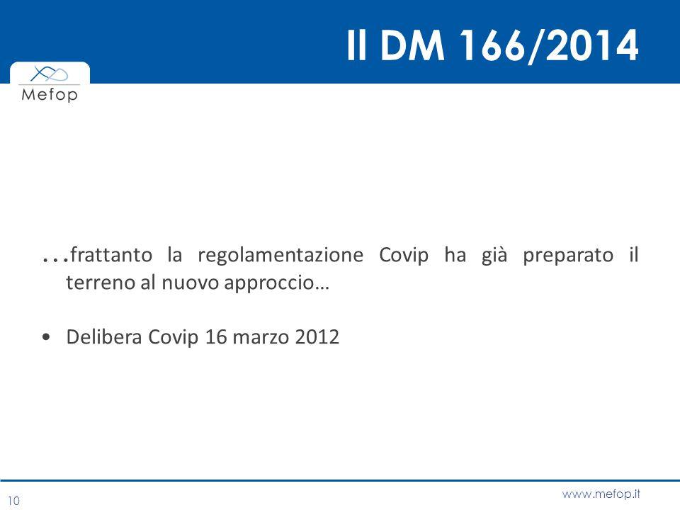 www.mefop.it Il DM 166/2014 … frattanto la regolamentazione Covip ha già preparato il terreno al nuovo approccio… Delibera Covip 16 marzo 2012 10