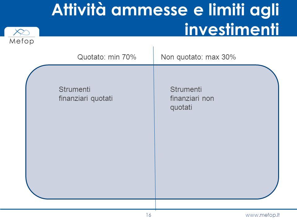 www.mefop.it Attività ammesse e limiti agli investimenti 16 Quotato: min 70%Non quotato: max 30% Strumenti finanziari quotati Strumenti finanziari non