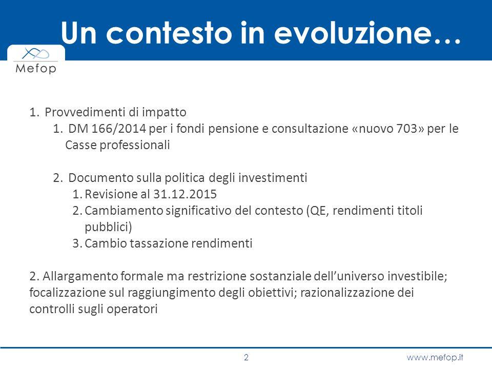 www.mefop.it Un contesto in evoluzione… 1. Provvedimenti di impatto 1. DM 166/2014 per i fondi pensione e consultazione «nuovo 703» per le Casse profe