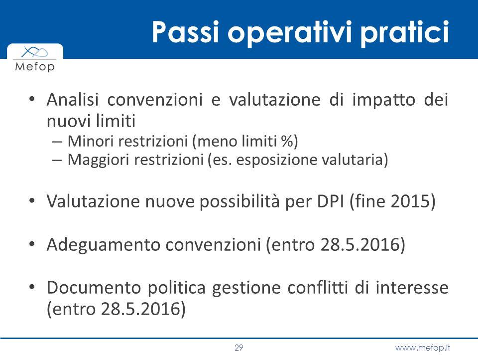 www.mefop.it Passi operativi pratici Analisi convenzioni e valutazione di impatto dei nuovi limiti – Minori restrizioni (meno limiti %) – Maggiori res