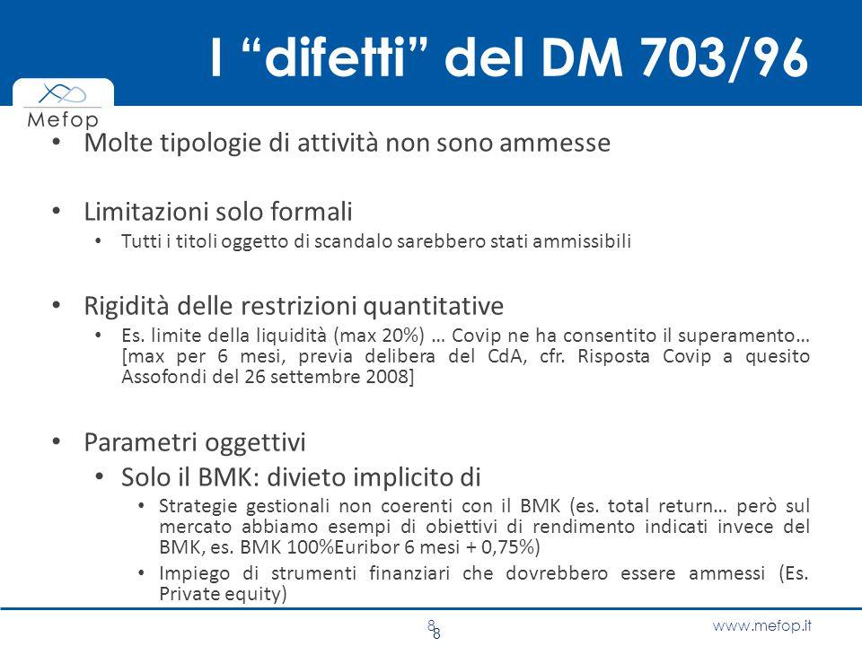 """www.mefop.it I """"difetti"""" del DM 703/96 Molte tipologie di attività non sono ammesse Limitazioni solo formali Tutti i titoli oggetto di scandalo sarebb"""