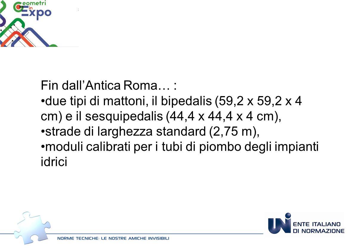 Fin dall'Antica Roma… : due tipi di mattoni, il bipedalis (59,2 x 59,2 x 4 cm) e il sesquipedalis (44,4 x 44,4 x 4 cm), strade di larghezza standard (2,75 m), moduli calibrati per i tubi di piombo degli impianti idrici