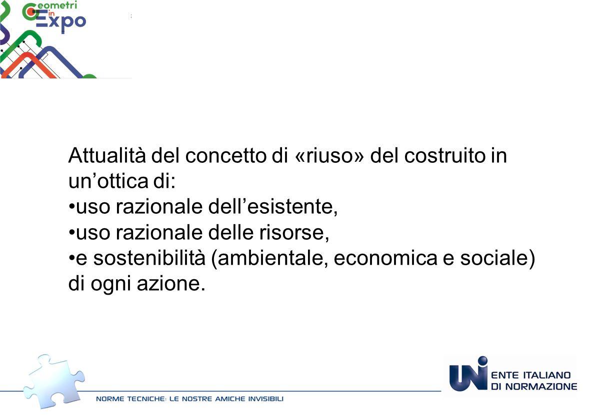 Attualità del concetto di «riuso» del costruito in un'ottica di: uso razionale dell'esistente, uso razionale delle risorse, e sostenibilità (ambientale, economica e sociale) di ogni azione.