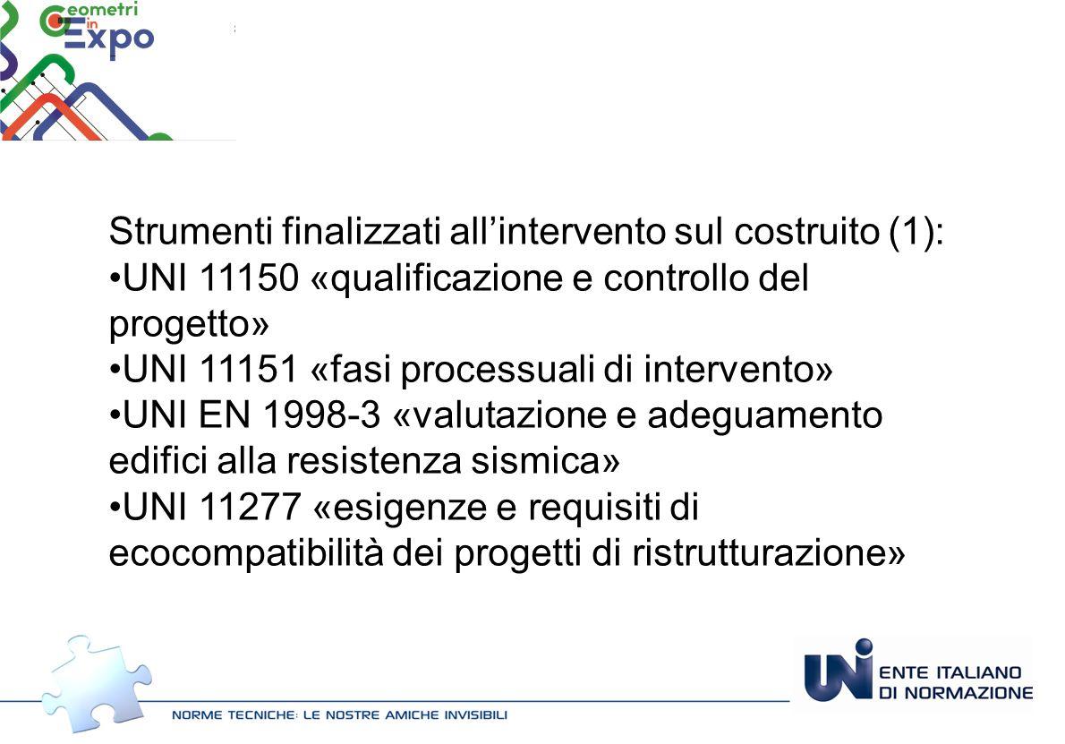 Strumenti finalizzati all'intervento sul costruito (1): UNI 11150 «qualificazione e controllo del progetto» UNI 11151 «fasi processuali di intervento»