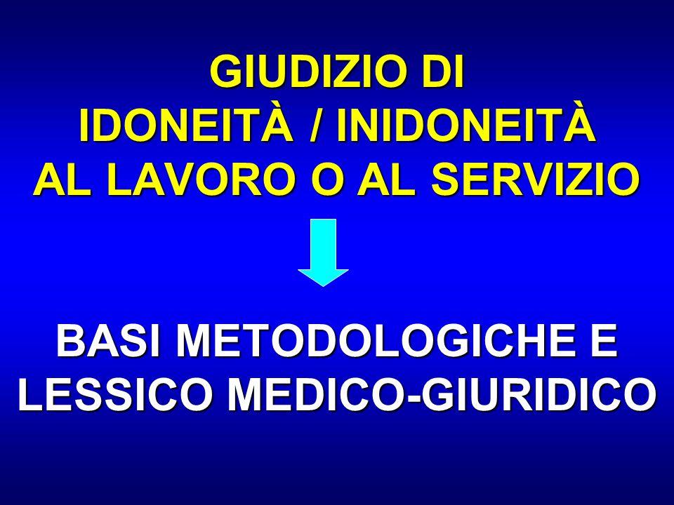 GIUDIZIO DI IDONEITÀ / INIDONEITÀ AL LAVORO O AL SERVIZIO BASI METODOLOGICHE E LESSICO MEDICO-GIURIDICO