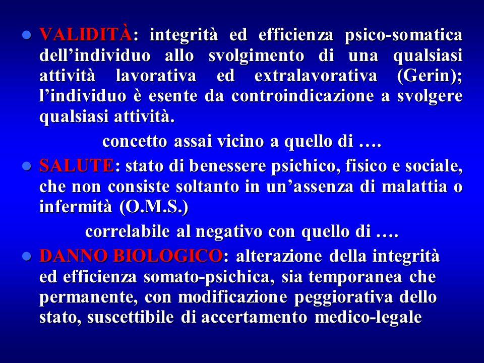 VALIDITÀ: integrità ed efficienza psico-somatica dell'individuo allo svolgimento di una qualsiasi attività lavorativa ed extralavorativa (Gerin); l'in