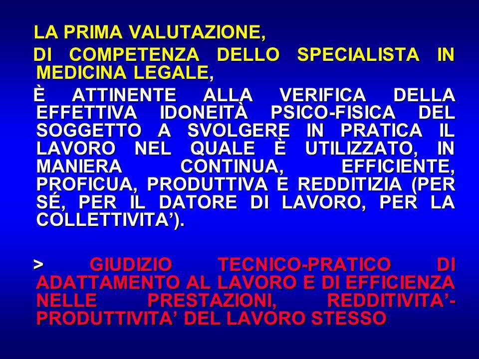 LA PRIMA VALUTAZIONE, LA PRIMA VALUTAZIONE, DI COMPETENZA DELLO SPECIALISTA IN MEDICINA LEGALE, DI COMPETENZA DELLO SPECIALISTA IN MEDICINA LEGALE, È