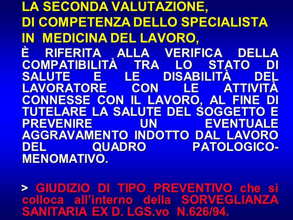 LA SECONDA VALUTAZIONE, LA SECONDA VALUTAZIONE, DI COMPETENZA DELLO SPECIALISTA DI COMPETENZA DELLO SPECIALISTA IN MEDICINA DEL LAVORO, IN MEDICINA DE