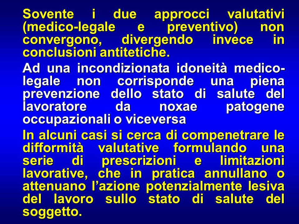 Sovente i due approcci valutativi (medico-legale e preventivo) non convergono, divergendo invece in conclusioni antitetiche. Sovente i due approcci va