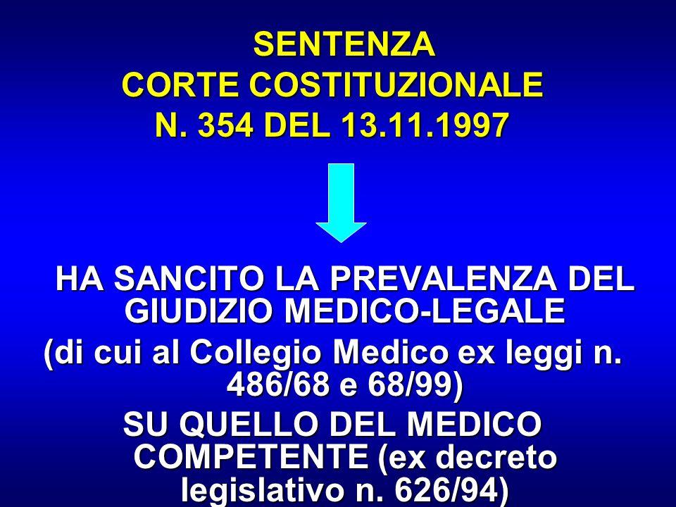 SENTENZA SENTENZA CORTE COSTITUZIONALE N. 354 DEL 13.11.1997 HA SANCITO LA PREVALENZA DEL GIUDIZIO MEDICO-LEGALE HA SANCITO LA PREVALENZA DEL GIUDIZIO