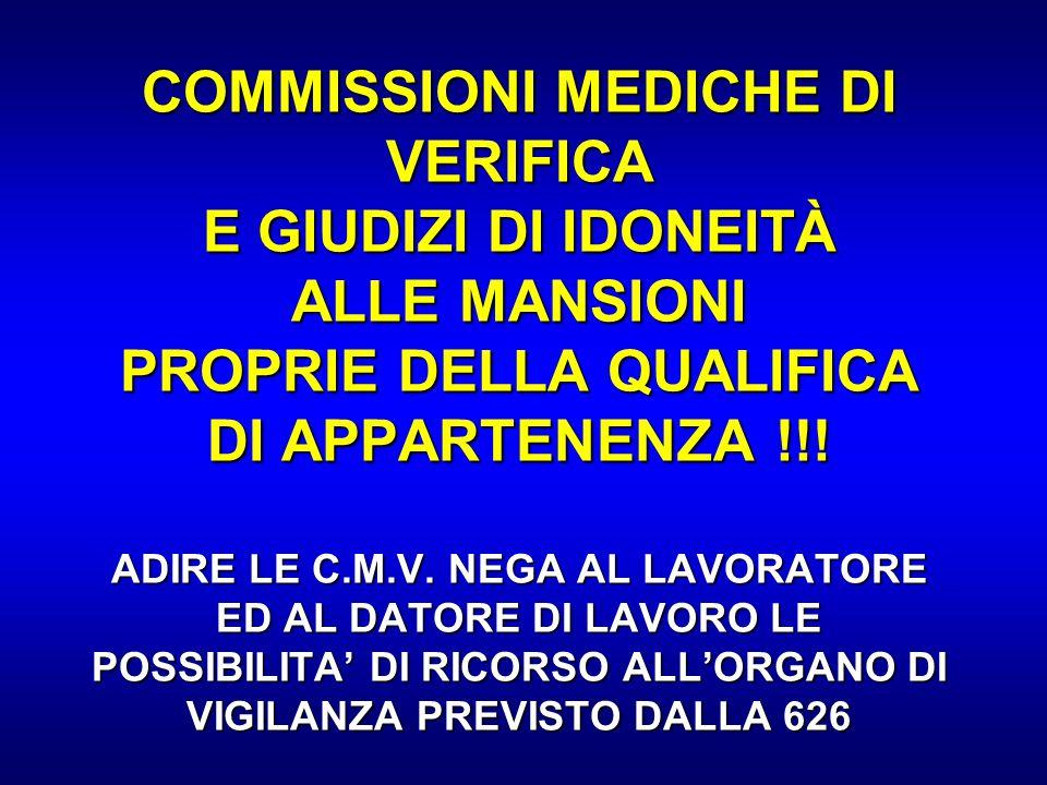 COMMISSIONI MEDICHE DI VERIFICA E GIUDIZI DI IDONEITÀ ALLE MANSIONI PROPRIE DELLA QUALIFICA DI APPARTENENZA !!! ADIRE LE C.M.V. NEGA AL LAVORATORE ED
