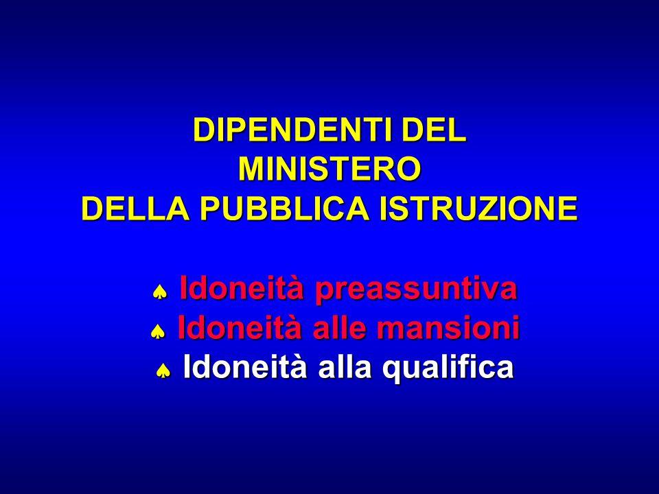 DIPENDENTI DEL MINISTERO DELLA PUBBLICA ISTRUZIONE  Idoneità preassuntiva  Idoneità alle mansioni  Idoneità alla qualifica