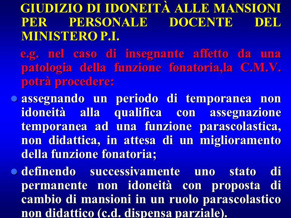 GIUDIZIO DI IDONEITÀ ALLE MANSIONI PER PERSONALE DOCENTE DEL MINISTERO P.I. GIUDIZIO DI IDONEITÀ ALLE MANSIONI PER PERSONALE DOCENTE DEL MINISTERO P.I