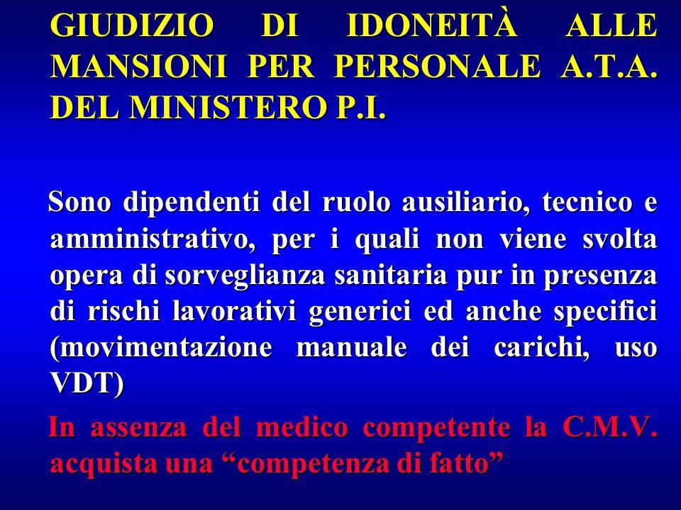 GIUDIZIO DI IDONEITÀ ALLE MANSIONI PER PERSONALE A.T.A. DEL MINISTERO P.I. GIUDIZIO DI IDONEITÀ ALLE MANSIONI PER PERSONALE A.T.A. DEL MINISTERO P.I.
