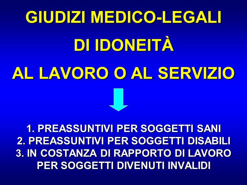 GIUDIZI MEDICO-LEGALI DI IDONEITÀ AL LAVORO O AL SERVIZIO 1. PREASSUNTIVI PER SOGGETTI SANI 2. PREASSUNTIVI PER SOGGETTI DISABILI 3. IN COSTANZA DI RA