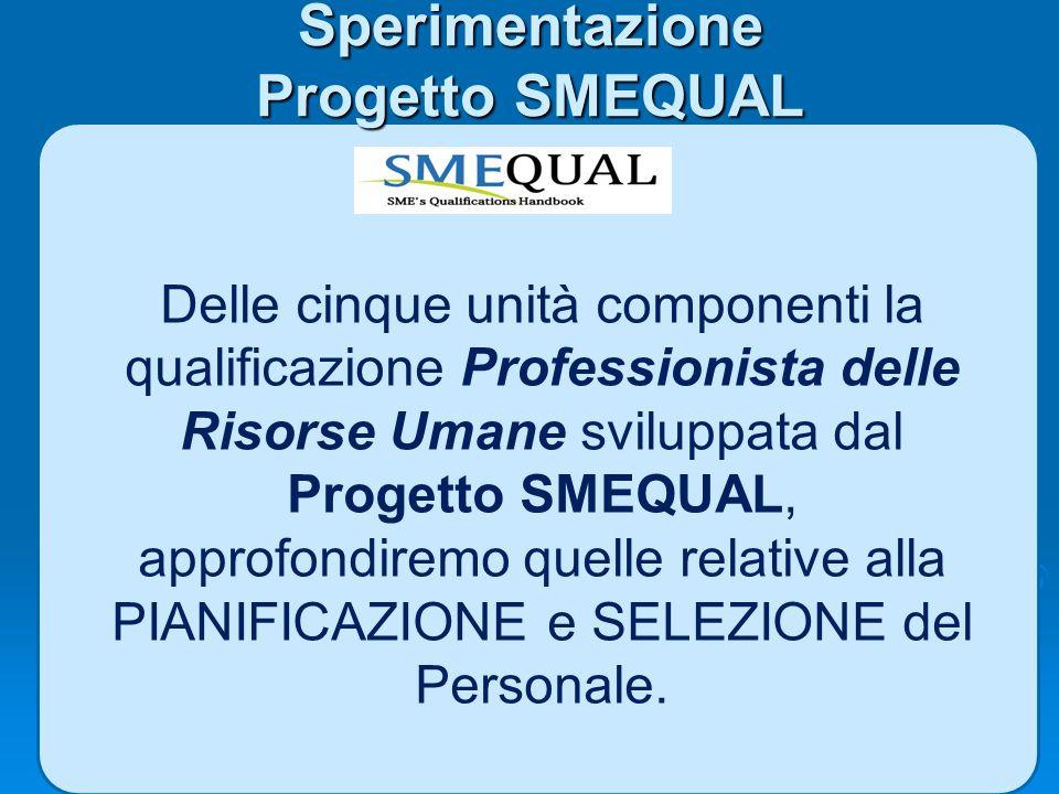 Sperimentazione Progetto SMEQUAL Delle cinque unità componenti la qualificazione Professionista delle Risorse Umane sviluppata dal Progetto SMEQUAL, a