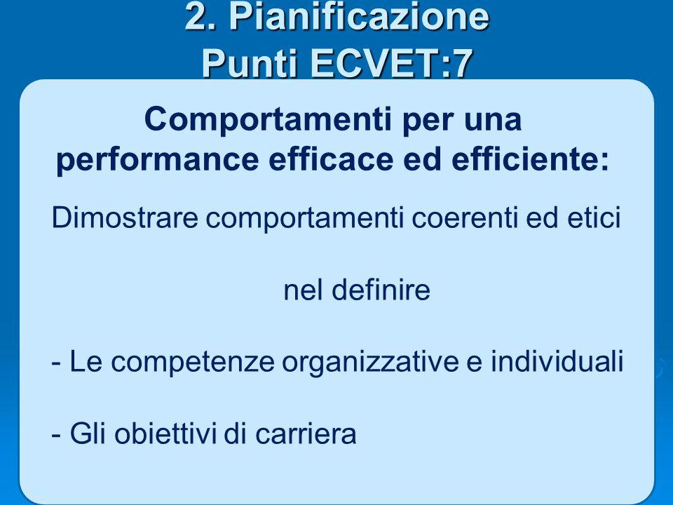 2. Pianificazione Punti ECVET:7 Comportamenti per una performance efficace ed efficiente: Dimostrare comportamenti coerenti ed etici nel definire - Le