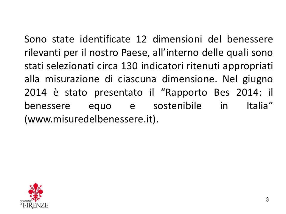 Sono state identificate 12 dimensioni del benessere rilevanti per il nostro Paese, all'interno delle quali sono stati selezionati circa 130 indicatori ritenuti appropriati alla misurazione di ciascuna dimensione.
