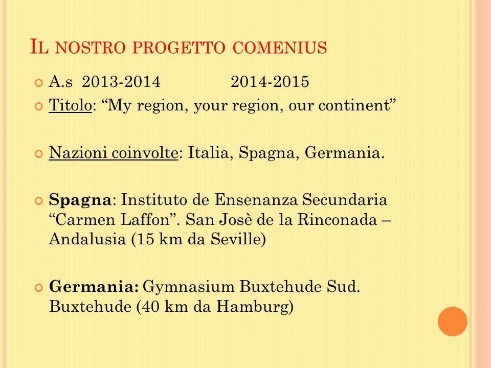 I L NOSTRO PROGETTO COMENIUS A.s 2013-20142014-2015 Titolo: My region, your region, our continent Nazioni coinvolte: Italia, Spagna, Germania.