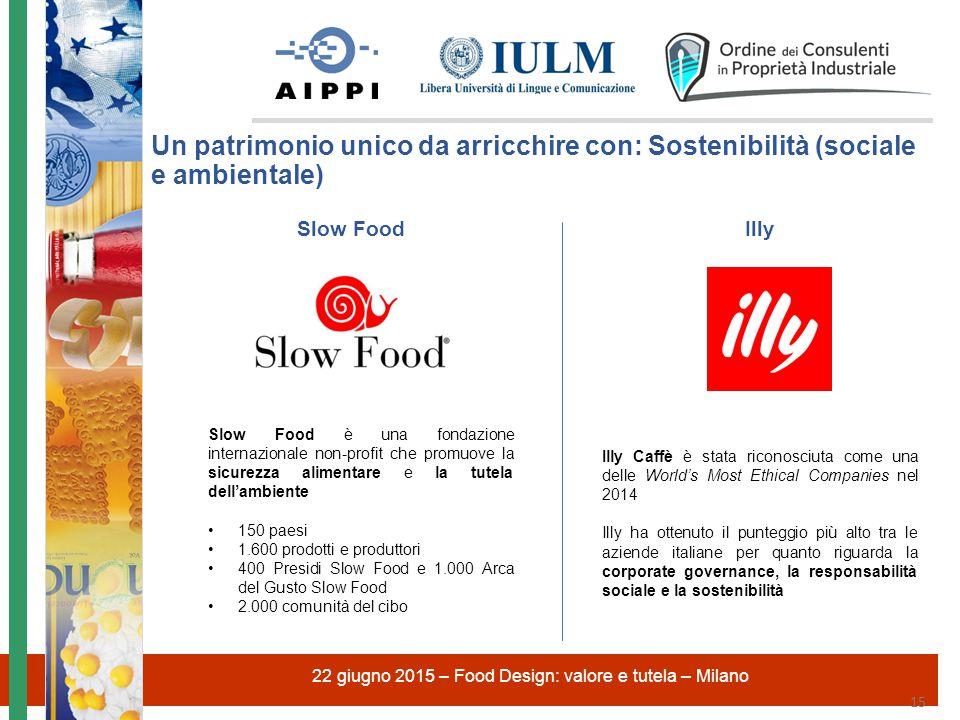 22 giugno 2015 – Food Design: valore e tutela – Milano 15 Slow Food è una fondazione internazionale non-profit che promuove la sicurezza alimentare e