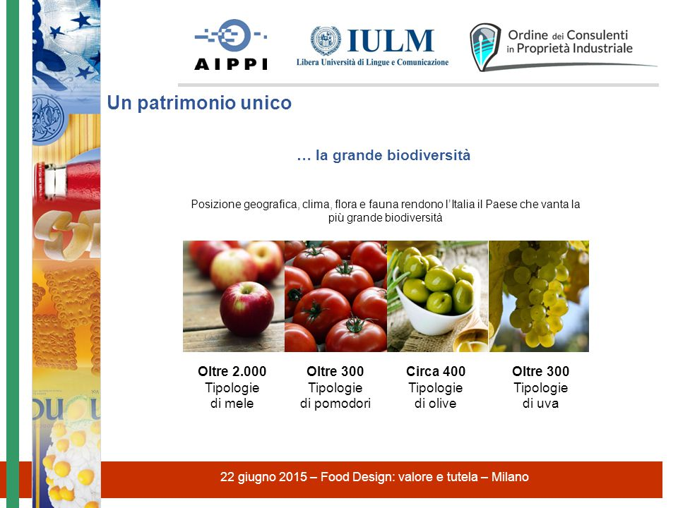 22 giugno 2015 – Food Design: valore e tutela – Milano … la grande biodiversità Posizione geografica, clima, flora e fauna rendono l'Italia il Paese c