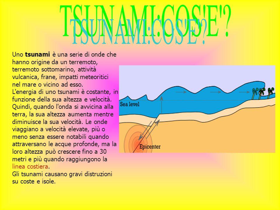 Uno tsunami è una serie di onde che hanno origine da un terremoto, terremoto sottomarino, attività vulcanica, frane, impatti meteoritici nel mare o vicino ad esso.