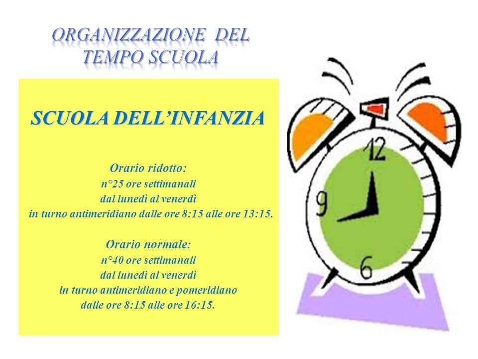 SCUOLA DELL'INFANZIA Orario ridotto: n°25 ore settimanali dal lunedì al venerdì in turno antimeridiano dalle ore 8:15 alle ore 13:15.