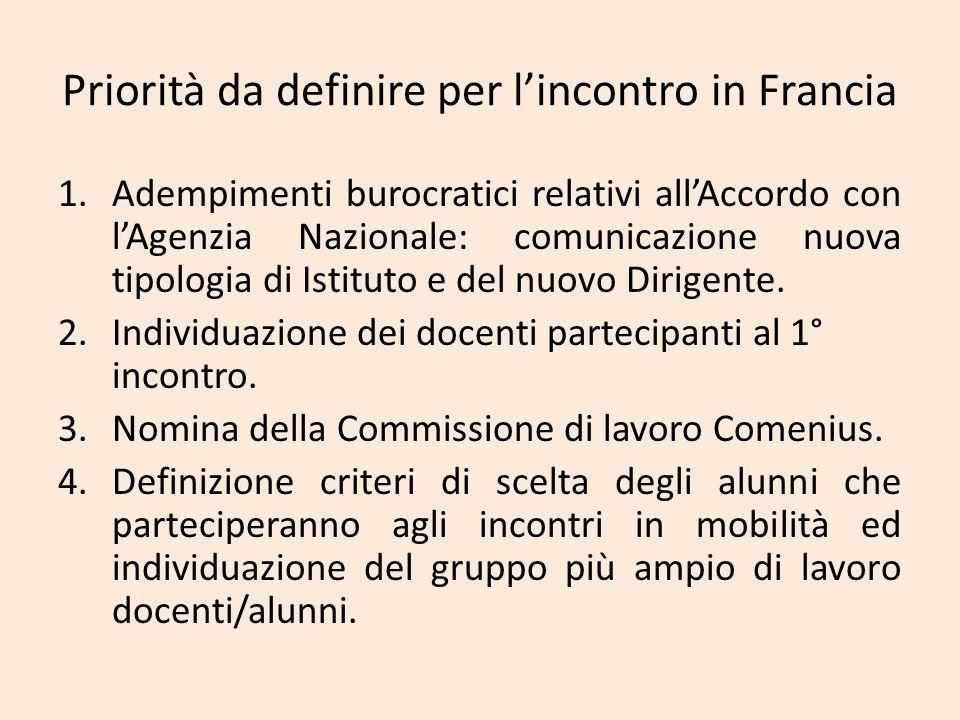 Priorità da definire per l'incontro in Francia 1.Adempimenti burocratici relativi all'Accordo con l'Agenzia Nazionale: comunicazione nuova tipologia d