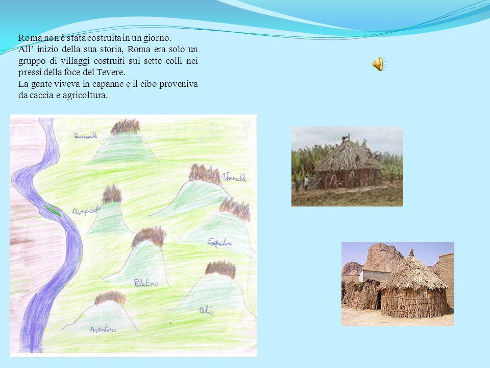 Questo disegno rappresenta le prime capanne che sorsero nel territorio di Roma. Esse erano ovali e circondate da semplici palizzate