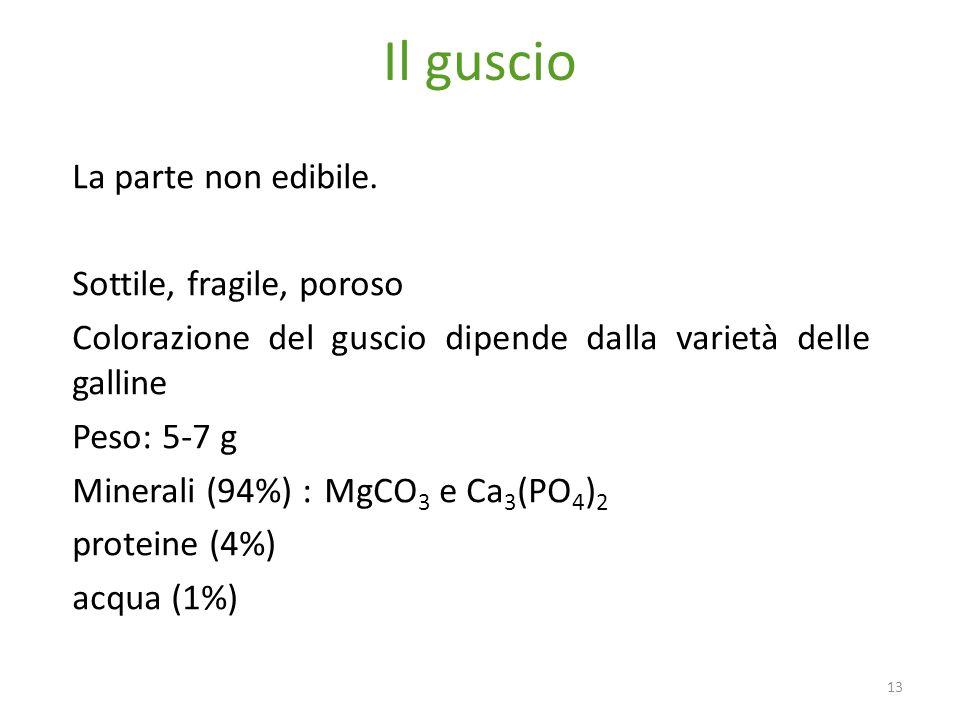 Il guscio 13 La parte non edibile. Sottile, fragile, poroso Colorazione del guscio dipende dalla varietà delle galline Peso: 5-7 g Minerali (94%) :MgC