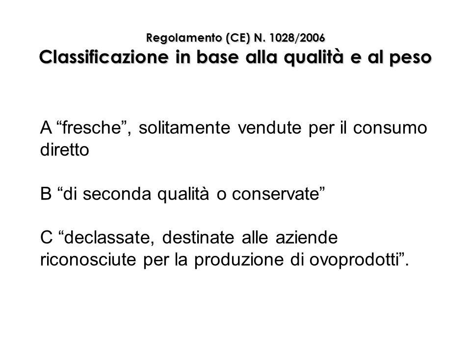 """Regolamento (CE) N. 1028/2006 Classificazione in base alla qualità e al peso A """"fresche"""", solitamente vendute per il consumo diretto B """"di seconda qua"""