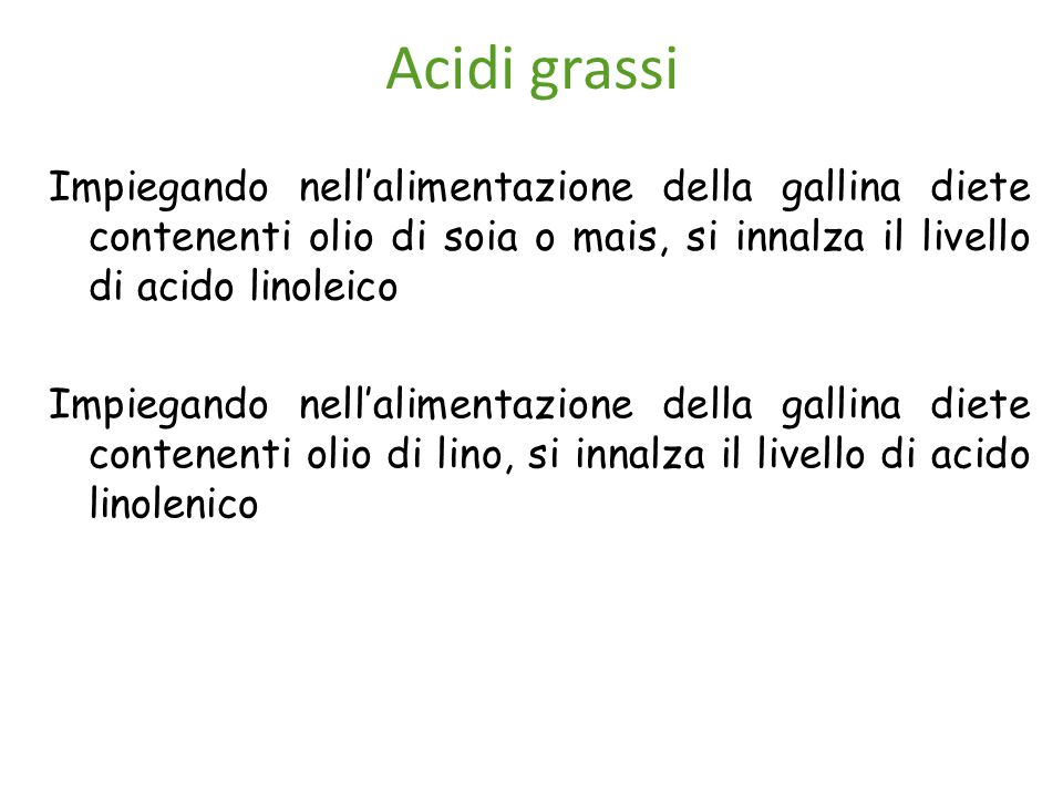 Acidi grassi Impiegando nell'alimentazione della gallina diete contenenti olio di soia o mais, si innalza il livello di acido linoleico Impiegando nel