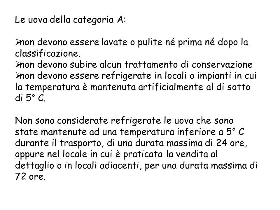 Le uova della categoria A:  non devono essere lavate o pulite né prima né dopo la classificazione.