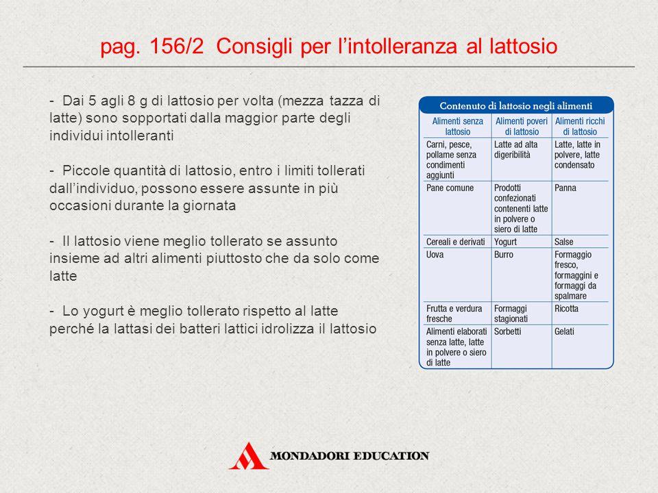 pag. 156/2 Consigli per l'intolleranza al lattosio - Dai 5 agli 8 g di lattosio per volta (mezza tazza di latte) sono sopportati dalla maggior parte d
