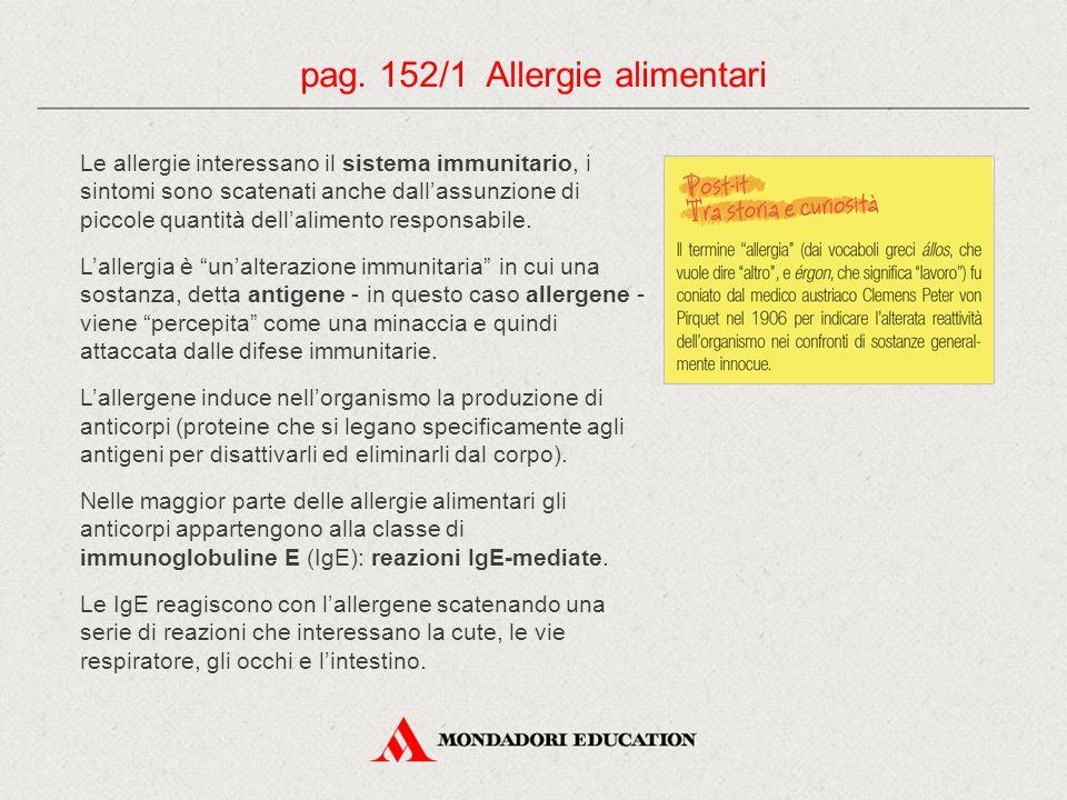 pag.152/2 Allergie alimentari Reazione allergica: 1.