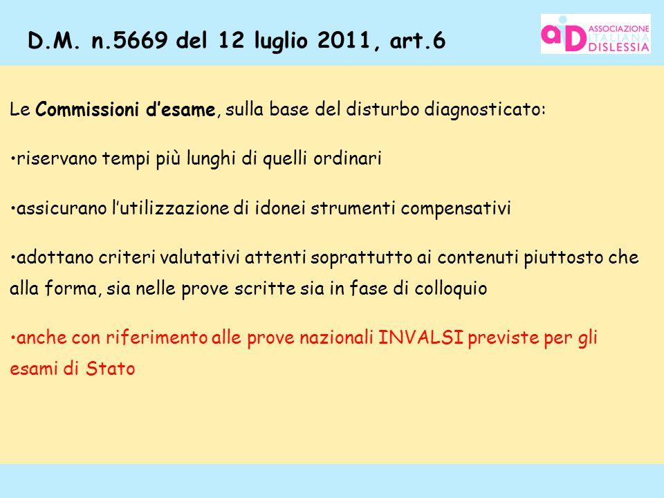 115 D.M. n.5669 del 12 luglio 2011, art.6 Le Commissioni d'esame, sulla base del disturbo diagnosticato: riservano tempi più lunghi di quelli ordinari