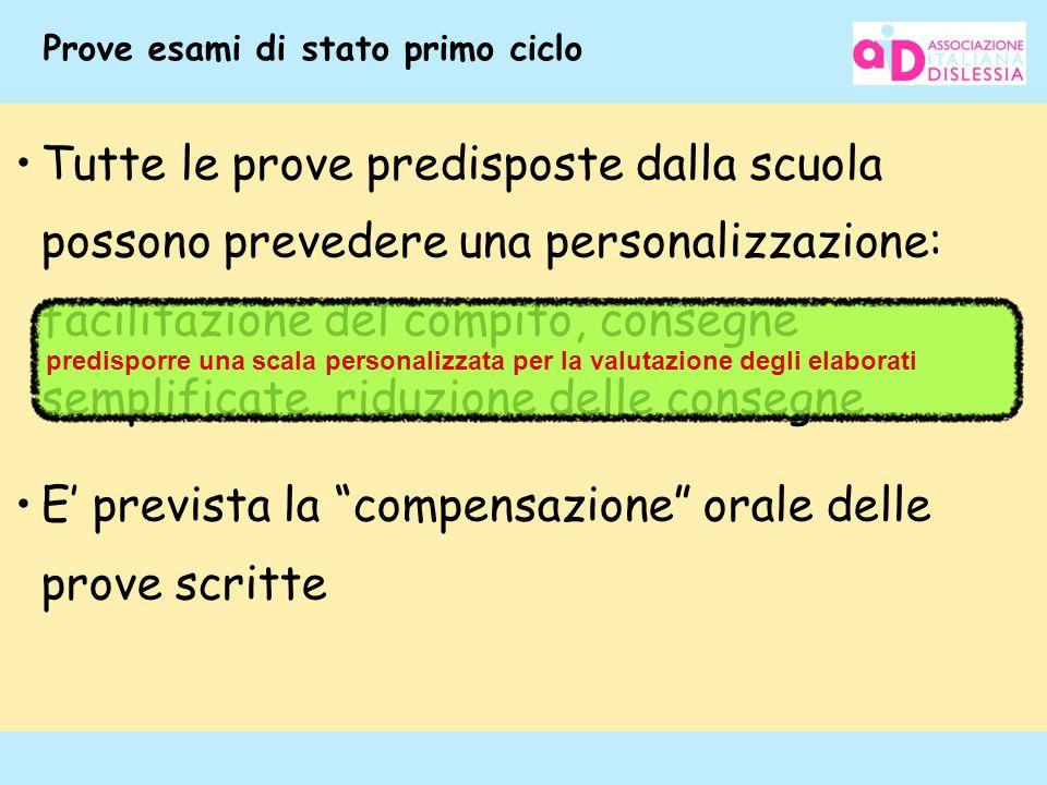 116 Prove esami di stato primo ciclo Tutte le prove predisposte dalla scuola possono prevedere una personalizzazione: facilitazione del compito, conse
