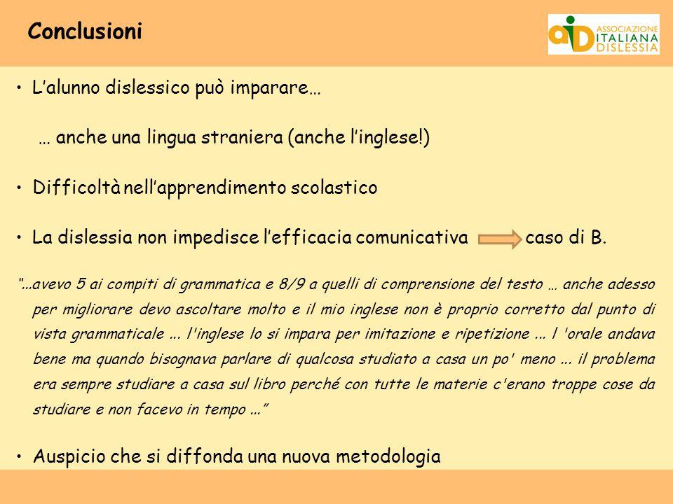 Conclusioni L'alunno dislessico può imparare… … anche una lingua straniera (anche l'inglese!) Difficoltà nell'apprendimento scolastico La dislessia no