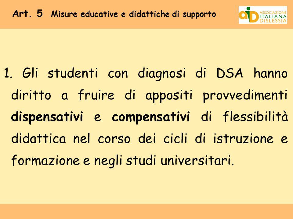Art. 5 Misure educative e didattiche di supporto 1. Gli studenti con diagnosi di DSA hanno diritto a fruire di appositi provvedimenti dispensativi e c