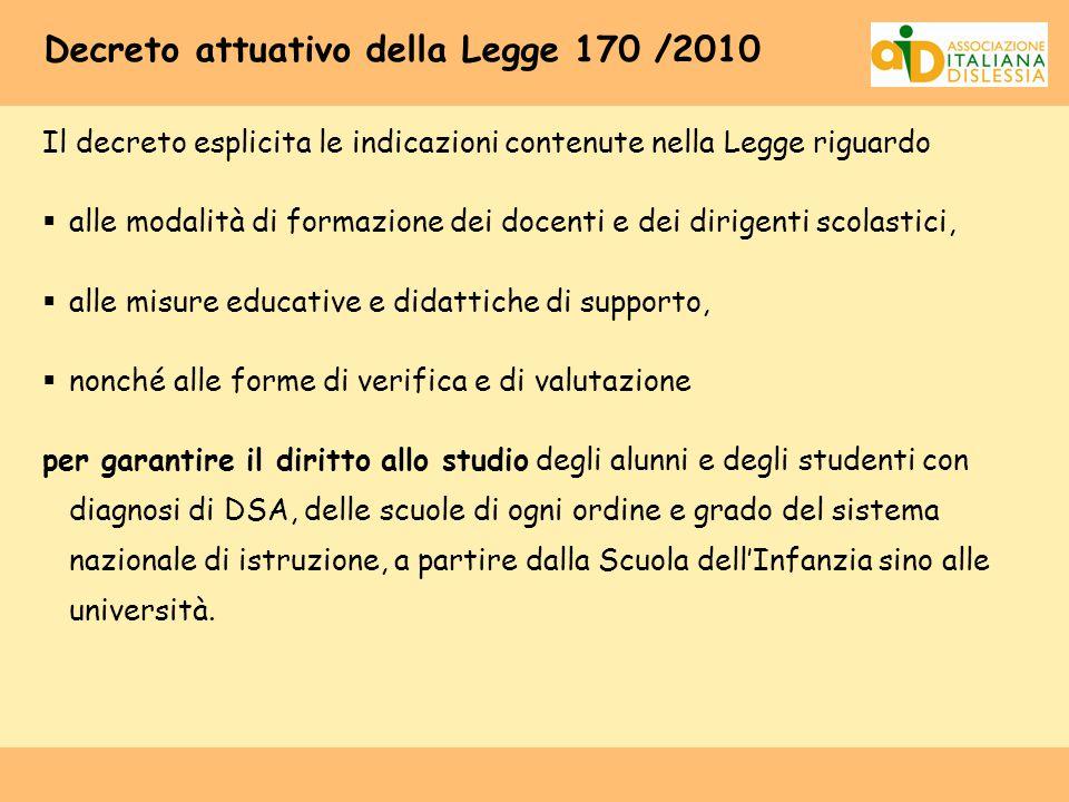 Decreto attuativo della Legge 170 /2010 Il decreto esplicita le indicazioni contenute nella Legge riguardo  alle modalità di formazione dei docenti e