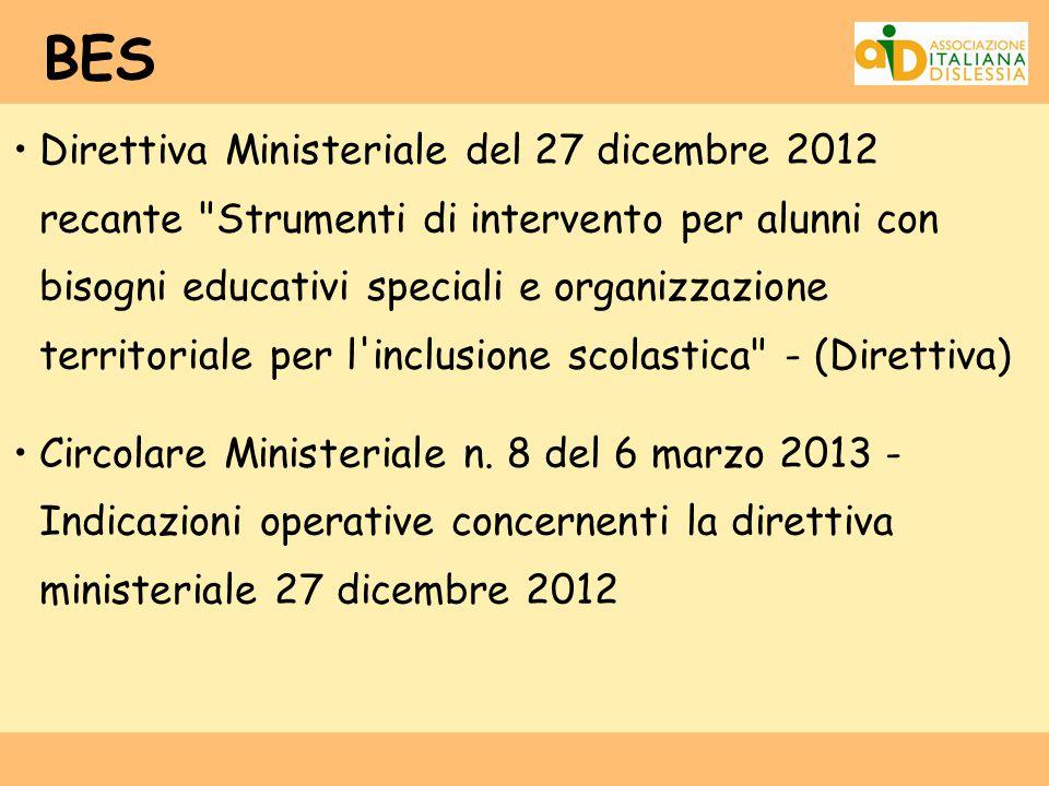 BES Direttiva Ministeriale del 27 dicembre 2012 recante
