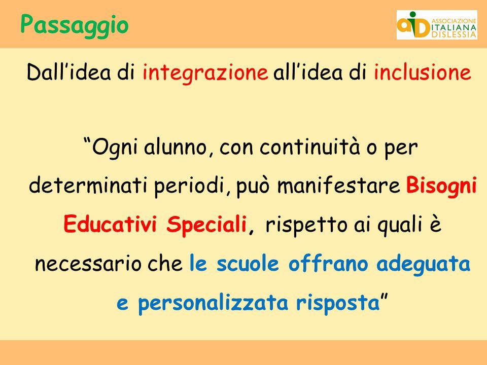 """Passaggio Dall'idea di integrazione all'idea di inclusione """"Ogni alunno, con continuità o per determinati periodi, può manifestare Bisogni Educativi S"""