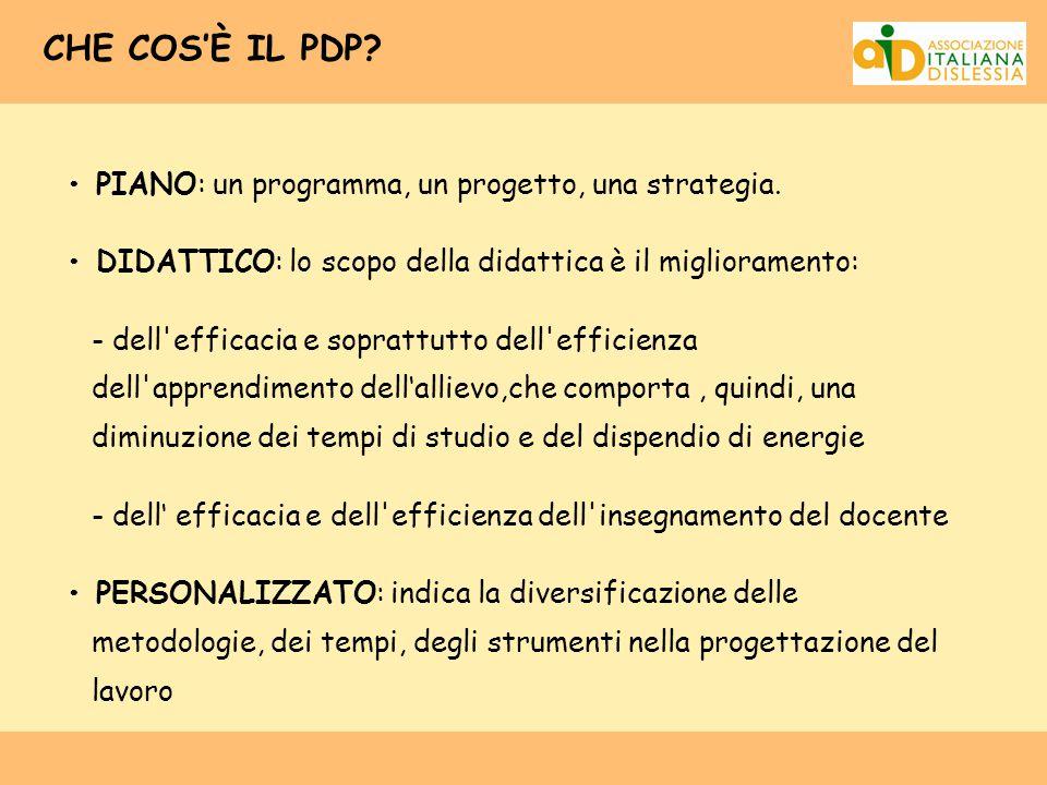 CHE COS'È IL PDP? PIANO: un programma, un progetto, una strategia. DIDATTICO: lo scopo della didattica è il miglioramento: - dell'efficacia e soprattu