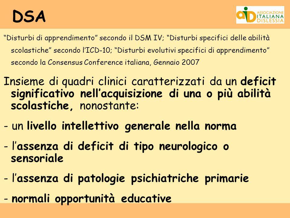 """DSA """"Disturbi di apprendimento"""" secondo il DSM IV; """"Disturbi specifici delle abilità scolastiche"""" secondo l'ICD-10; """"Disturbi evolutivi specifici di a"""